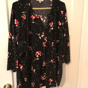 Woman Within Black Floral Blouse, Woman's Size 3X